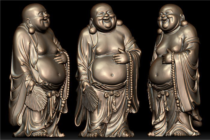 3D Model For Cnc 3D Carved Figure Sculpture Machine In STL File Format The Chinese Culture,Laughing Buddha