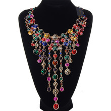 JEROLLIN Colorful Rhinestones Statement Necklace Gold Chain Pendant Necklaces Colar Women Fashion Jewelry Party Accessories
