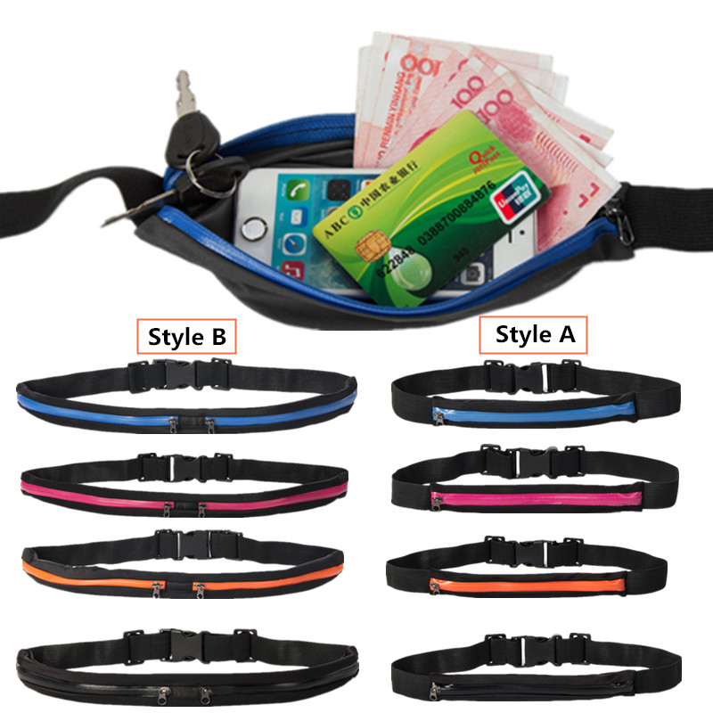 Waterproof Double Pocket Waist Hip Bag Adjustable Chest Pack Casual 5.5″ Phone Key Purse Money Fanny Belt Pouch Travel Accessory