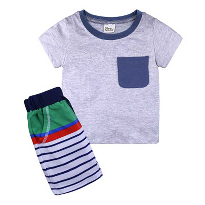 4e59396b85c96 US $6.58 30% OFF|1 2 3 4 5 6 Years Boys Suits 2018 New Cartoon Summer Boys  Clothes T shirts Shorts Children Clothing Set Cotton Kids Outfits-in ...