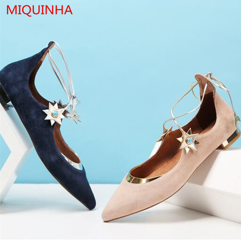 2017 Womens Spring Shoes Casual Flock Pointed Toe Narrow Band String Bead Ballet Flats flat shoes Cover Heel Women Flats Shoes new 2017 spring summer women shoes pointed toe high quality brand fashion womens flats ladies plus size 41 sweet flock t179