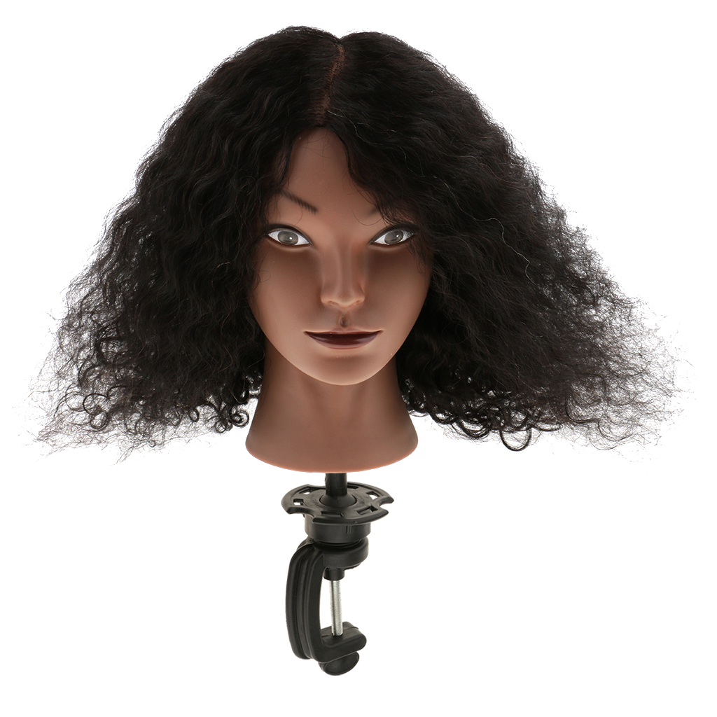 Durable Plastic Cosmetology Silicone 100 Human Hair Practice Training Mannequin Head with Clamp Set
