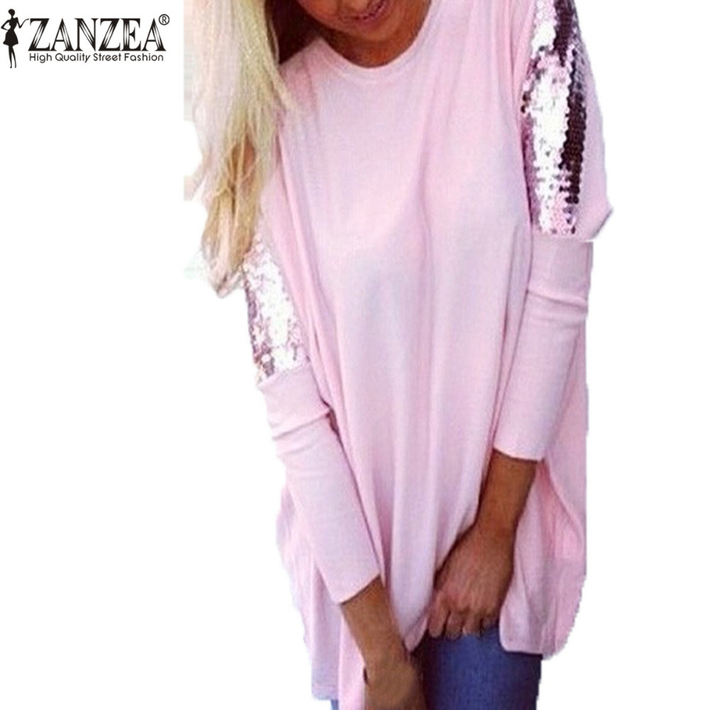 New fashion women harajukut shirt o neck sequins batwing for New shirt style for girl