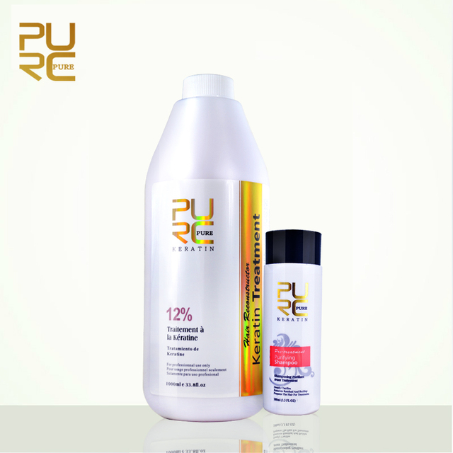 Pure Reparatie En Rechtzetten Schade Haar Product 12% Formlain 1000Ml Pure Chocolade Keratine Behandeling En Zuiverende Shampoo Set