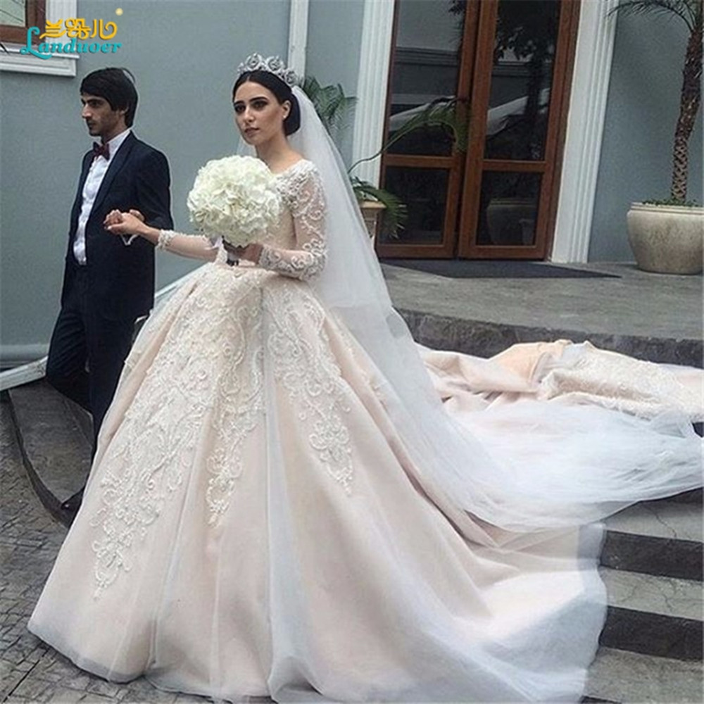 Wedding Gown Dresses: Gorgeous Sheer Ball Gown Wedding Dresses 2017 Puffy Beaded
