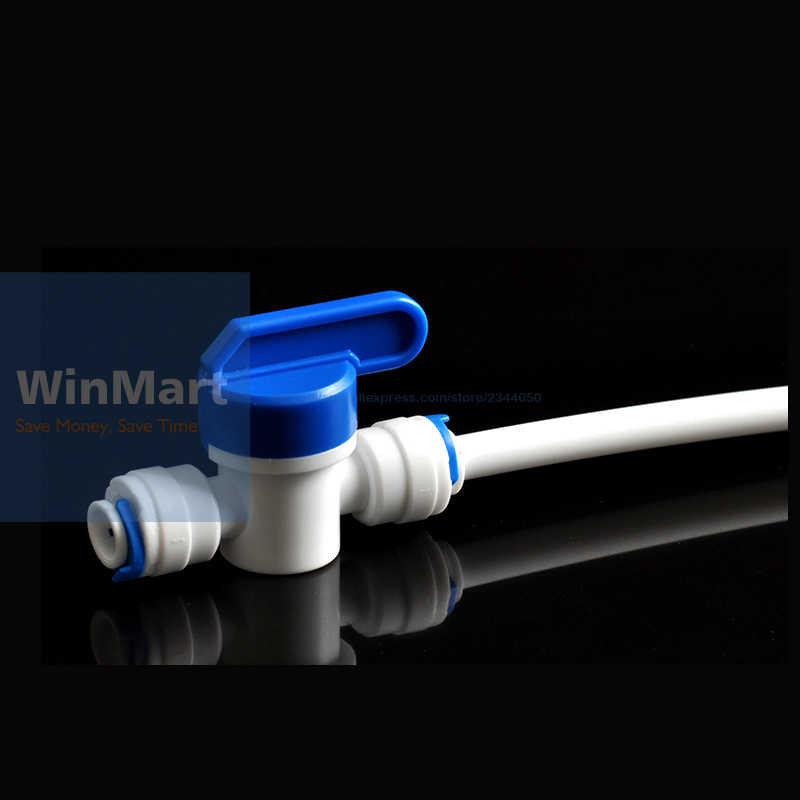 """1 pc 새로운 1/4 """"튜브 탭 차단 볼 밸브 퀵 피팅 연결 수족관 ro 워터 필터 역삼 투 시스템"""