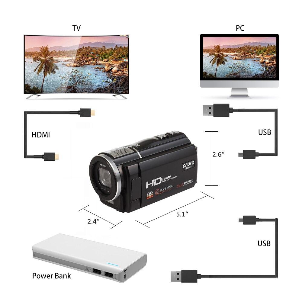 ORDRO caméra vidéo numérique HDV-F5 Portable 1080 P 30fps caméscope HD avec objectif grand Angle télécommande - 3