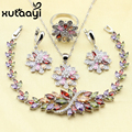 XUTAAYI 925 Silver Overlay Jewelry Set Flower Colorful imitated Topaz Earrings Ring Necklace Pendant Bracelet Christmas Gift