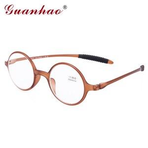Image 1 - Guanhao marca moda retro óculos de leitura das mulheres dos homens ultraleve sem aro óculos de leitura hd resina computador acessórios
