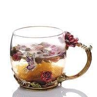 # A Czerwona róża rzeźba, kolor szkliwa, Luo poezja kubek herbaty, kryształ żaroodporne kreatywne prezenty