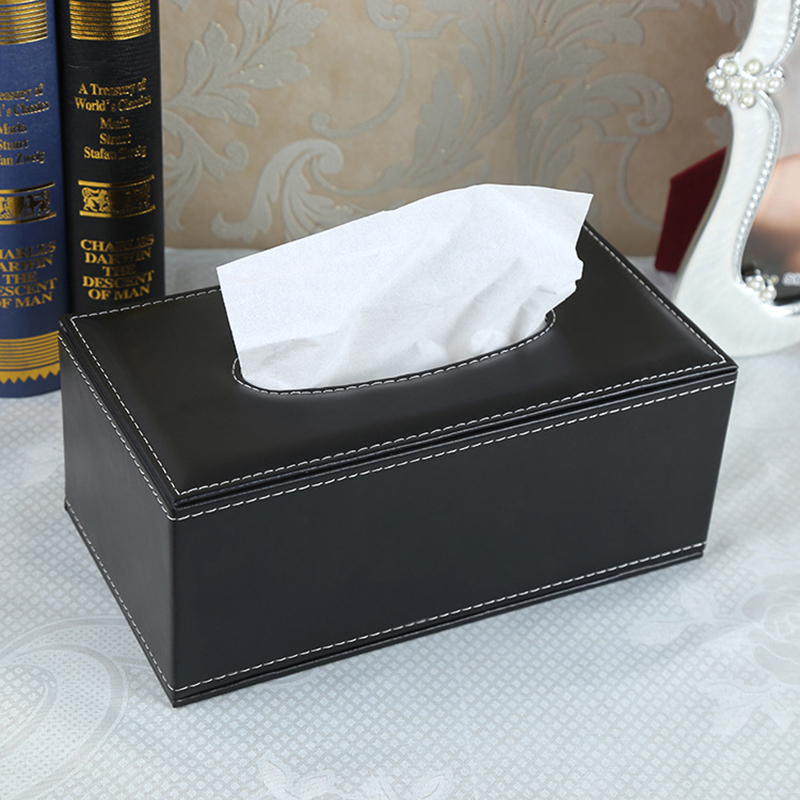 Fashion Microfiber Leather Tissue Box With Magnetic Closure Design Cover Rectangle Shaped Car Home Napkin Paper Container Case