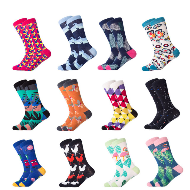 LETSBUY 1 pair men socks combed cotton cartoon happy  bird shark zebra corn watermelon sea food geometric novelty funny socks