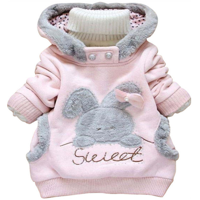 Retail New 2017 Children Clothing Cartoon Rabbit Outerwear Girl Fashion Hoodies Jacket Children Hooded Coat Baby Girl Sweatshirt