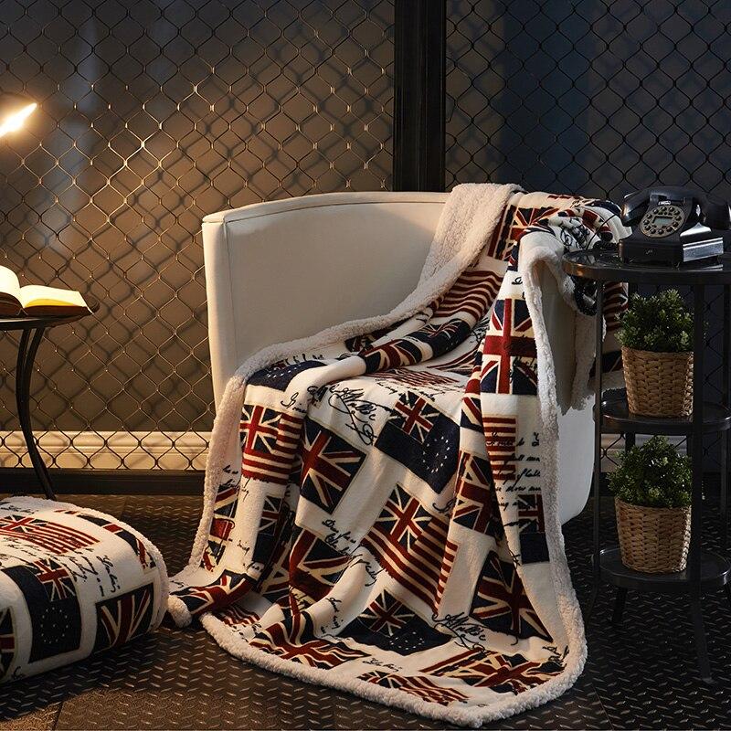 La Dernière Mode Européenne Style Britannique Drapeau Motif Imprimé De Polyester Couverture Souple Et Confortable Et Facile À Transporter