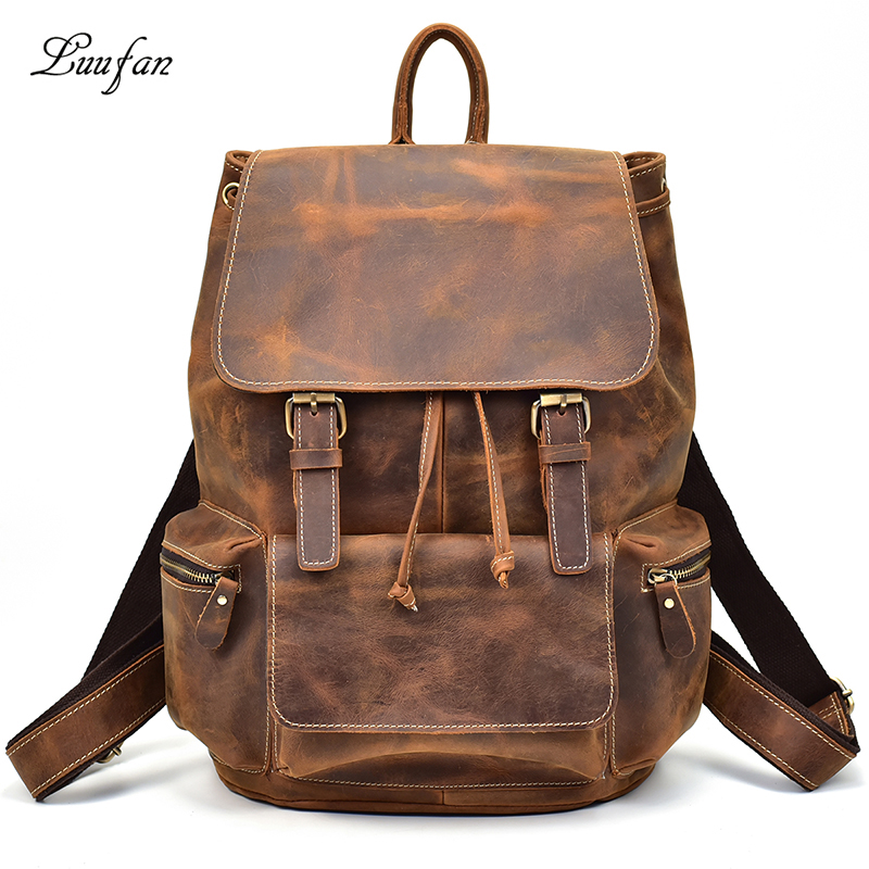 """Men Vintage Crazy Horse Leather Backpack Unisex Cow Leather 14"""" Laptop Rucksack Women Thick Real Leather School Bag Casual Bag"""