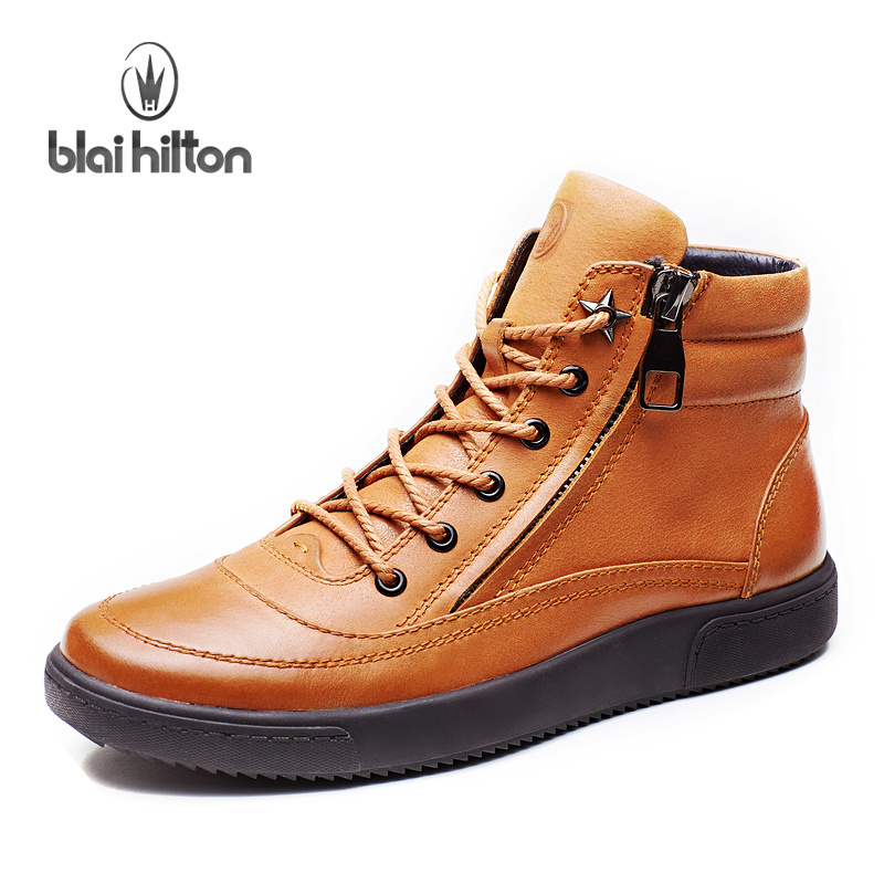 Blai Hilton 2017 Autumn/ Winter men shoes Genuine Leather boots Breathable/Comfortable British Style Men's Casual Martin Boots