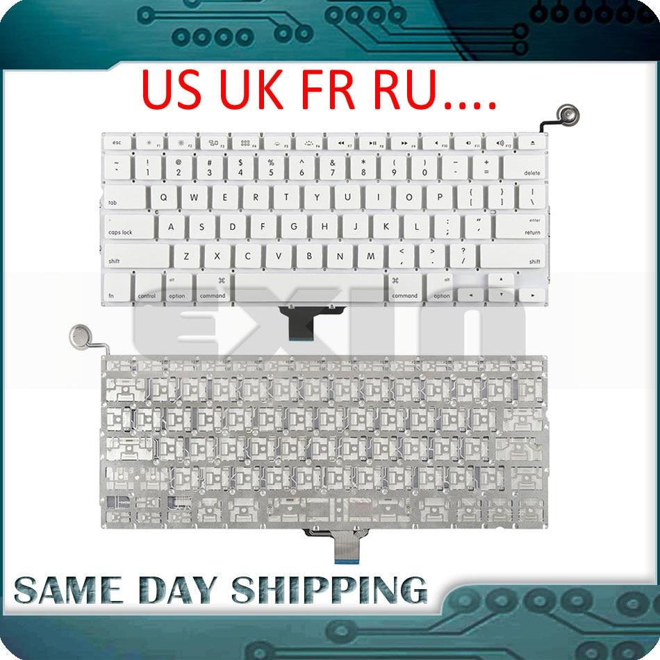 Новая клавиатура A1342, английская, английская, французская, Русская клавиатура для Apple Macbook, 13 дюймов, белая, A1342, американская клавиатура