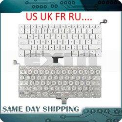 Teclado a1342 para apple macbook, teclado eua, reino unido, francês, russo, 13 polegadas, unissex, branco, a1342 us ano teclado teclado
