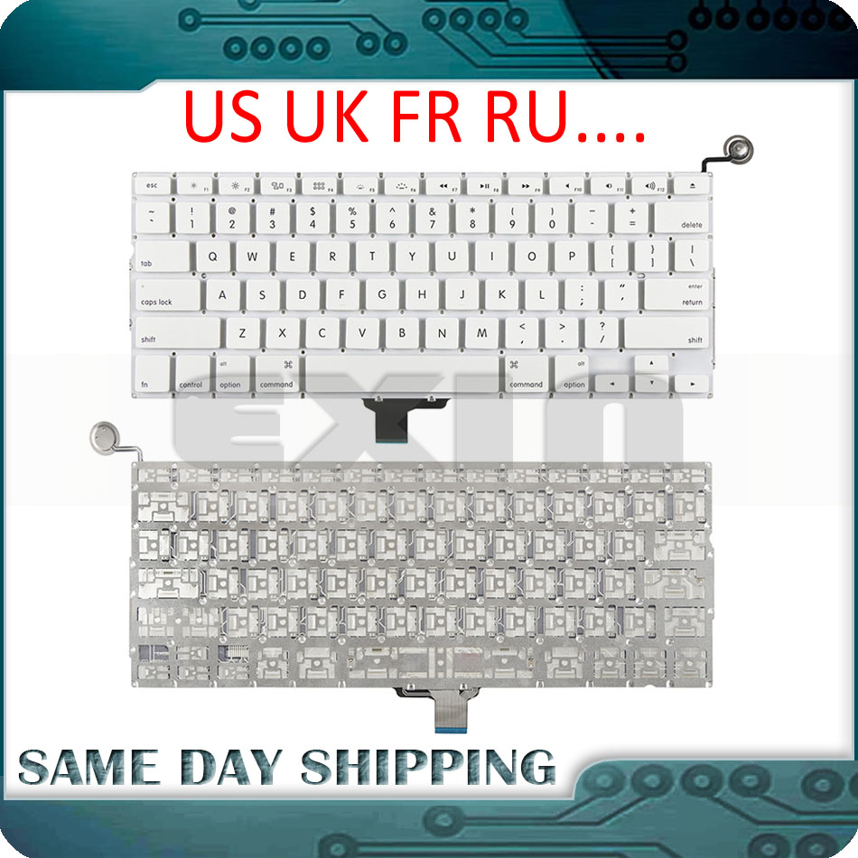 """New A1342 Keyboard US USA English UK French Russian Keyboards for Apple Macbook 13"""" inch Unibody White A1342 US Keyboard Year"""