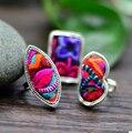 5 шт. национальный стиль шитьем колец мяо посеребренная этническая хлопок творческой личности мода красочные кольцо
