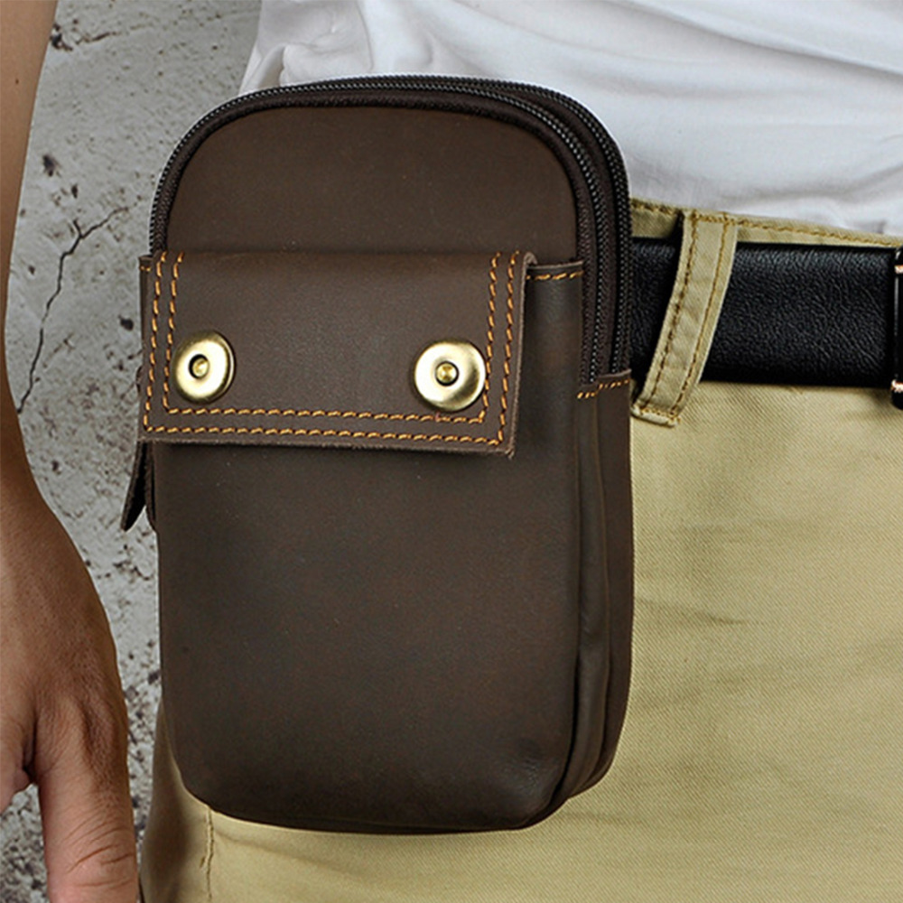 Crazy Horse Cowhide Hip Bum Belt Hook Waist Bags 7'' Cell Phone Cigarette Key Case Purse Retro Genuine Leather Men Fanny Pack