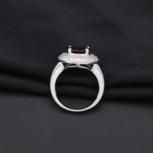 Image 3 - Gem ballet s ballet 3.15ct natural vermelho granada anel de pedra preciosa 925 prata esterlina noivado cocktail anéis para mulheres jóias finas