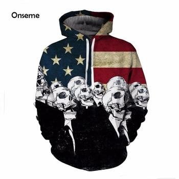 Vintage America Flag Skull Men Prints 3D Hoodies Pullovers Male Female Harajuku Hoodie Sportswear Pocket Hooded Sweatshirts Tops moletom masculino bandeiras