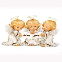 New 5d Diy Hot Diamond Embroidery Painting Cross Stitch Kits Three Angels Home Decor