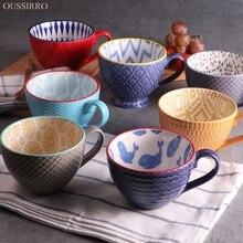 Vidrio relieves que restaura maneras antiguas de la personalidad taza de cerámica pintado a mano taza de cereal de desayuno grande taza de café pareja creativa