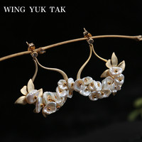 wing yuk tak Bohemia Cultured Pearl Stud Earrings For Women Statement Earrings Fashion Jewelry Wholesale