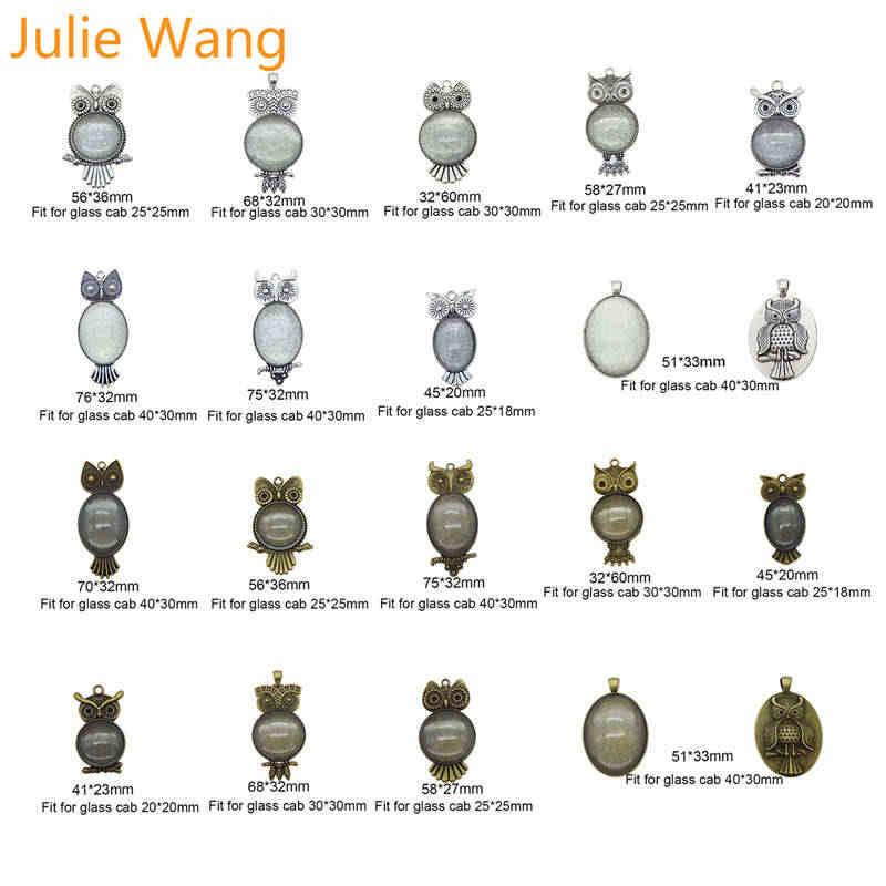 Julie Wang 1 ชุด Vintage Assorted นกฮูกนกการตั้งค่าถาดที่ว่างเปล่าจี้แก้ว Cabochon สร้อยคอสร้อยคอเครื่องประดับ