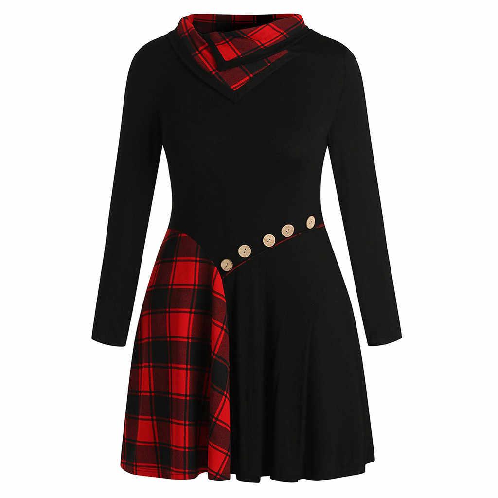 Feitong/Повседневные платья; модное женское платье с длинным рукавом; комбинированные Лоскутные пуговицы; воротник-воронка; элегантные повседневные платья; Vestidos