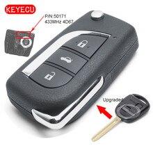 Keyecu는 Toyota Prado 433 RAV4 Kluger FCC ID: 120 용 플립 원격 키 Fob 50171 MHz 4D67 칩을 업그레이드했습니다.