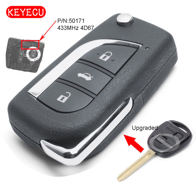 Keyecu Upgraded Flip Remote Key Fob 433MHz 4D67 Chip for Toyota Prado 120 RAV4 Kluger FCC ID: 50171