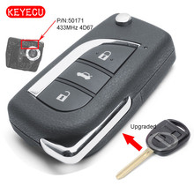 Keyecu yükseltilmiş Flip uzaktan anahtar Fob 433MHz 4D67 çip Toyota Prado 120 için RAV4 Kluger FCC ID: 50171