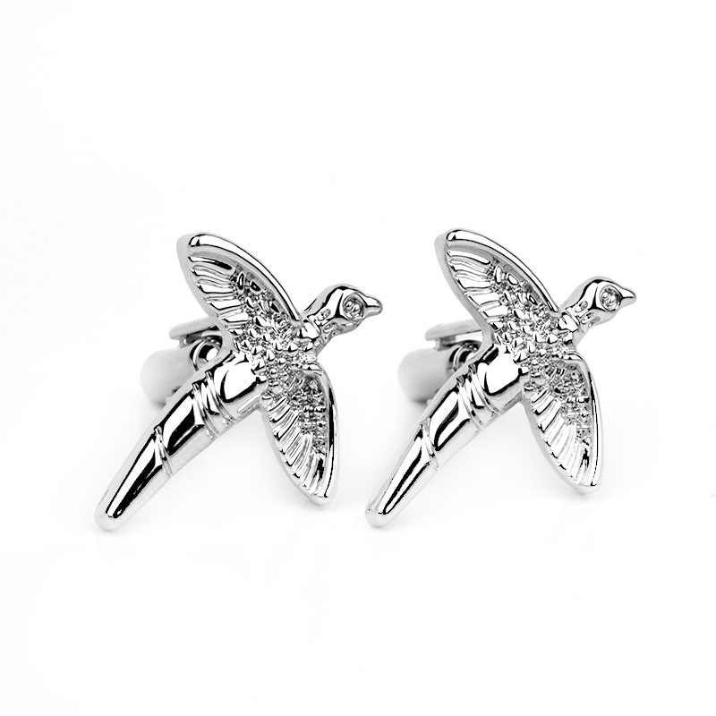 Cufflinks Men Freedom Jewelry Silver Polished Flying Bird Seabird Swallow Designer Brand Cuff Links Christmas Gift For Husband