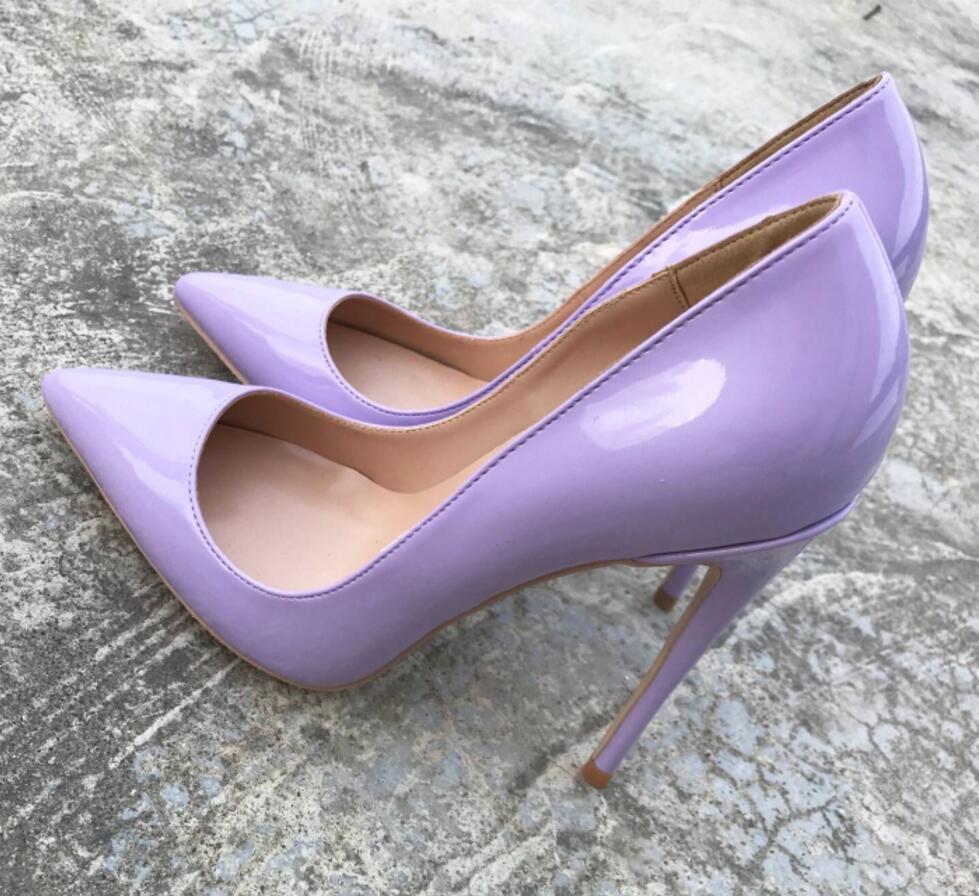 Púrpura Mujeres Del Size34 10 La Gratis Altos Las Pie 8cm Puntiagudo Moda Cm 10cm Tacones 12cm Dedo Dama De 8 Zapatos Charol Bombas Envío 12 2019 43 nIWzq77