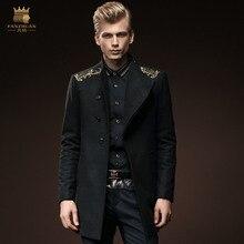 Бесплатная Доставка Новый мужской зима тонкий шерстяное пальто шерсти hoodless стоять воротник одной грудью вышитые верхняя одежда 0084 пальто FanZhuan
