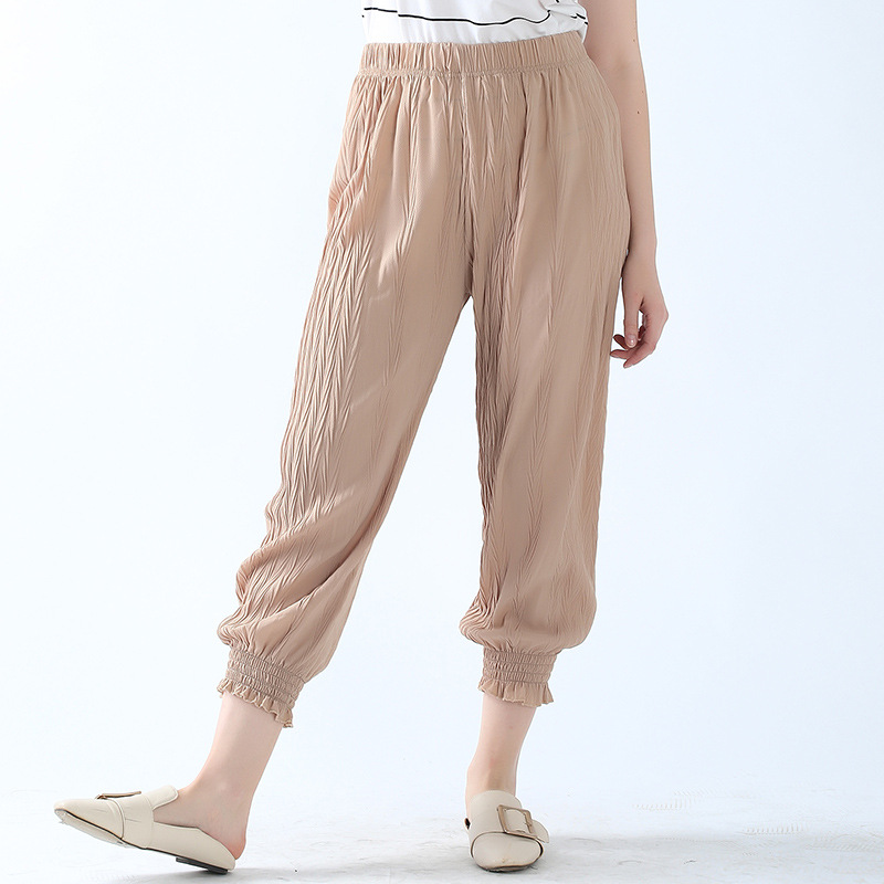 2019 spring and summer new pleated chiffon   pants   women loose plus size Necking Harem   pants   casual   wide     leg     pants   female