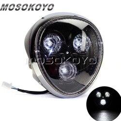 EMARK E24 reflektor motocyklowy 3 sztuk reflektor led małpa twarz reflektor dla Harley Cruiser cafe racer motocykl miejski na