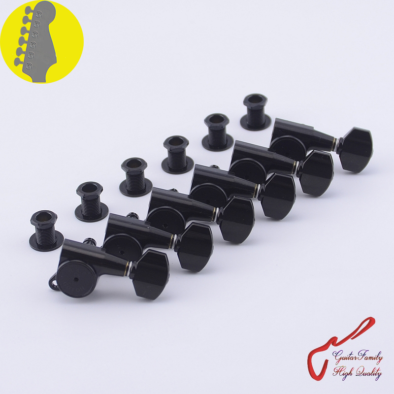 Genuine Original 6 In-line GOTOH SG381-07-HAPM Guitar Machine Heads Tuners ( Black ) Locking Height Adjust MADE IN JAPAN wilkinson deluxe wj55s 6 in line machine heads tuners black new guitar parts