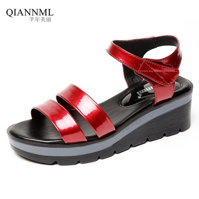 c6f288f3c2a Plus Size 33-43 Bright Patent Leather Sandals Women s Summer Shoes 2018  Medium Wedge Heels Platform Sandals Women Casual Shoe