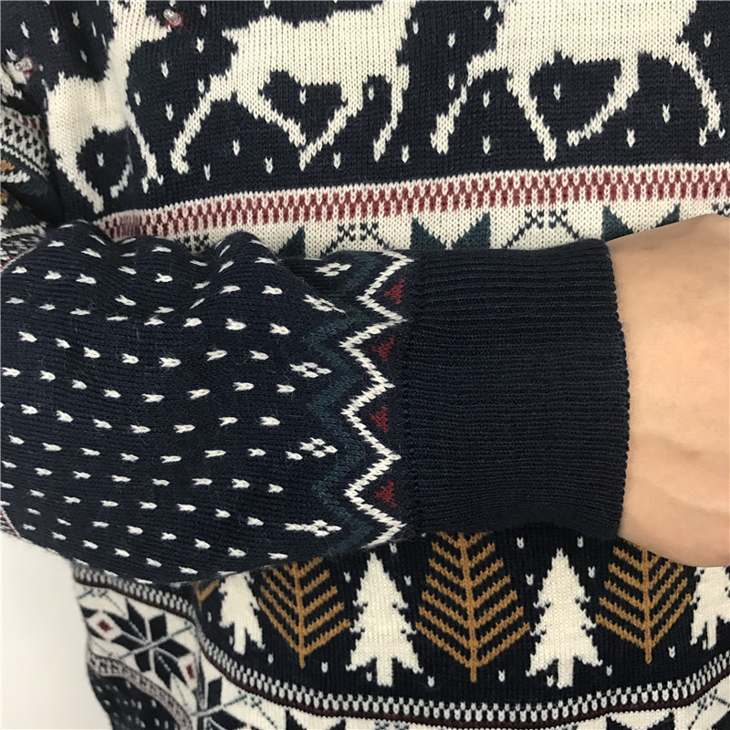 Funny Light Up Ugly Christmas Sweater for Men and Women Navy Blue Male Xmas Pullover Jumper Reindeer Patterned Plus Size S-4XL 7
