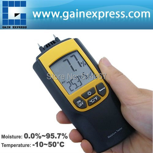 ФОТО Portable Digital Dual Moisture & Temperature Meter degree C and F Wood Cement Bricks Auto Manual Range
