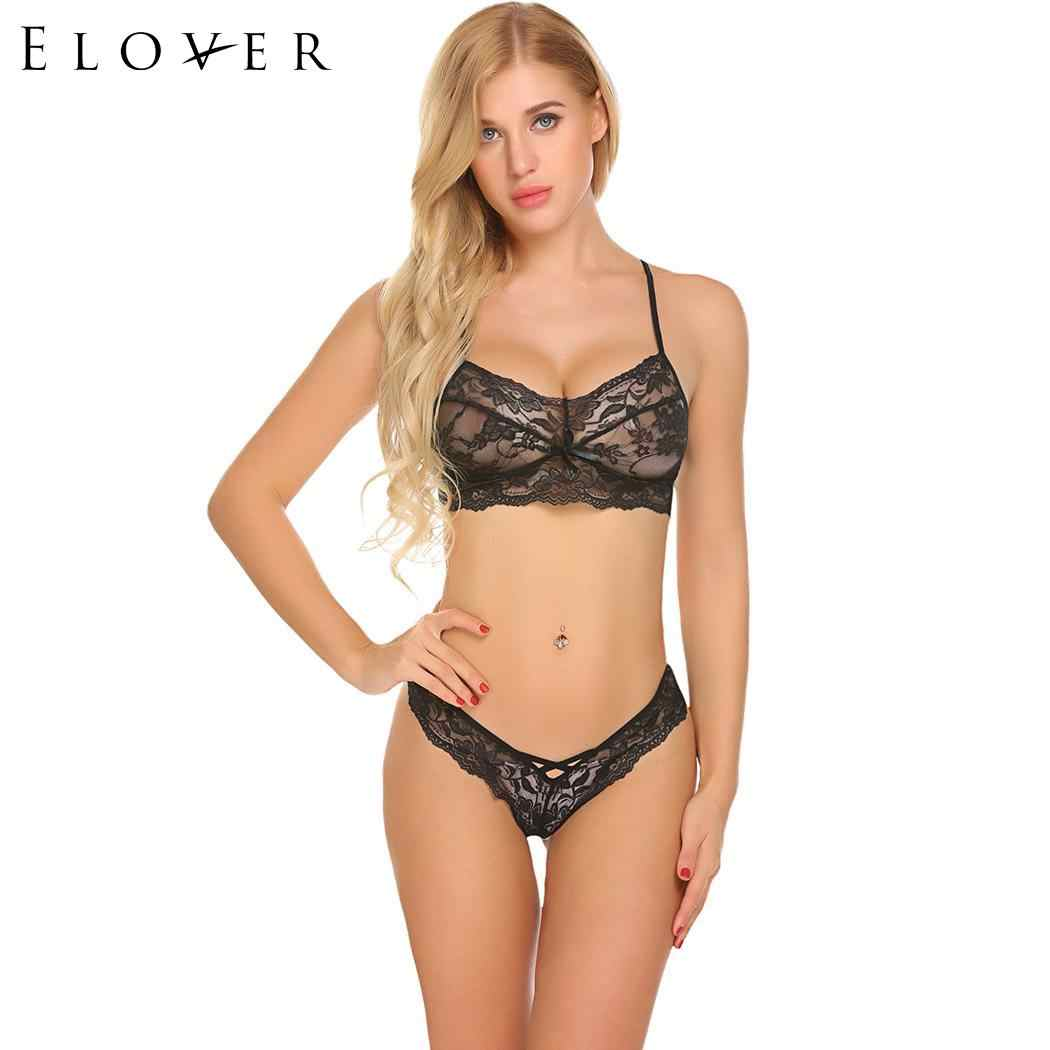 19ab6c8dea ... Elover Women s Erotic Costumes Sexy Lingerie Sets Thong Panty Bralette  Lace and Women Sexy Set Bikini ...