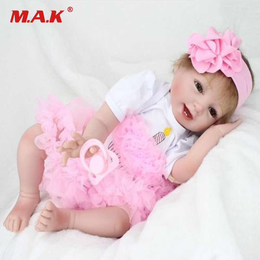 55cm 22 Inches Silicone Vinyl Baby Reborn Doll Alive Bebe Toys Reborn Dolls Princess Newborn Babies Doll Girls Birthday Gift 55cm victoria soft vinyl reborn baby dolls in pink dress 22 inch full vinyl newborn bebe reborn doll princess girl birthday gift
