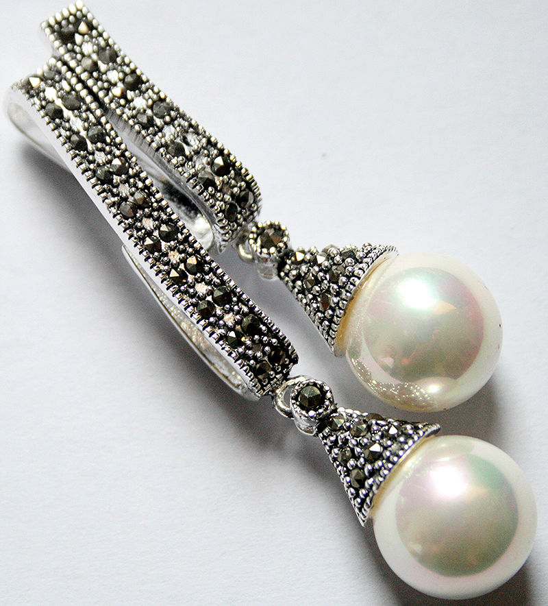 Blanc Naturel Mother of Pearl Shell Marcasite 925 Sterling Silver Drop Pendentif