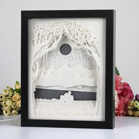Automatically color change paper craft shadow picture box frame aser cut paper light box