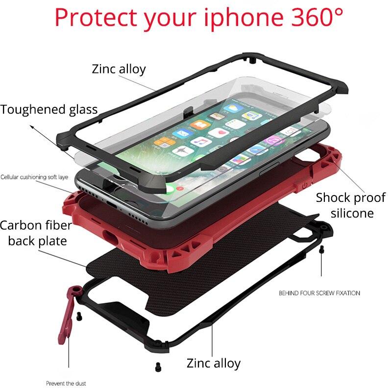 Цена за Для iPhone 7 чехол Роскошные противоударный всплеск воды крышка для iPhone 7 плюс 7 Plus 360 всего тела металла алюминиевая Gorilla Glass корпус