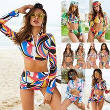2019 European and American explosion models conservative printed bikini ladies split long sleeve new swimsuit 3 sets